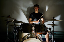 Calm Casual Male Drummer Playi...