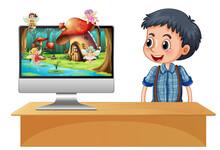 Boy Next To Computer Fairy On ...