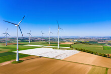 Germany, Rhineland-Palatinate, Gabsheim, Helicopter View Of Countryside Wind Farm In Summer