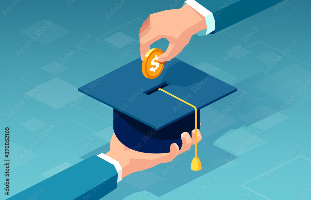 Fototapeta Vector of a man paying for his education
