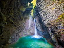 Slovenia, Ravine And Small Waterfall On Soca River