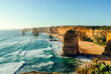 Scenic View Of Twelve Apostles Against Clear Sky During Sunset, Great Ocean Road, Victoria, Australia