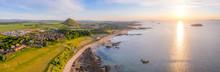 UK, Scotland, North Berwick, Aerial Panorama Of Coastal Town At Summer Sunset