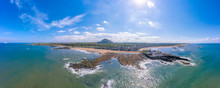UK, Scotland, North Berwick, Drone View Of Coastline Of Firth Of Forth In Summer