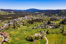 Germany, Baden-Wurttemberg, Hinterzarten, Aerial View Of Countryside Village In Spring