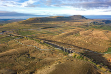 Aerial Of The Ribblehead Viaduct A Grade II Listed Structure, The Viaduct Runs The Settle To Carlisle Railway Route In North Yorkshire, England.