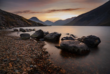 Sunrise Over Wast Water A Lake Located In Wasdale, A Valley In The Western Part Of The Lake District National Park, England. The Lake Is Almost 3 Miles Long And More Than One-third Mile Wide. It Is A Glacial Lake, Formed In A Glacially 'over-deepened' Valley. It Is The Deepest Lake In England At 258 Feet