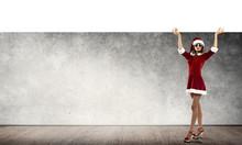 Santa Woman With Banner