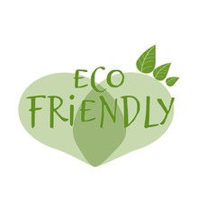 Text Eco Friendly In Abstract Shape Of Heart In Green Colour Isolated On White Background Decorated With Leaves Stock Vector Illustration