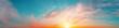 Leinwandbild Motiv Sunrise sky panorama with bright sun