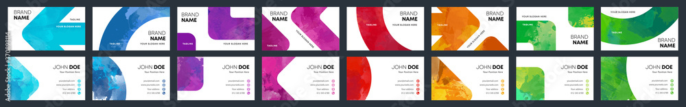 Fototapeta Watercolor business identity cards colourful cover template bundle set
