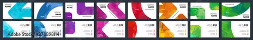 Fototapeta Watercolor business identity cards colourful cover template bundle set obraz