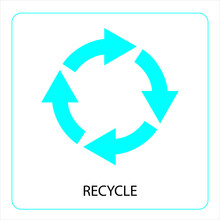 Recycling Sign. Blue Recast Symbol. Running Emblem Isolated