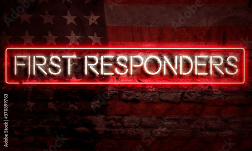 Obraz na plátně First Responders Patriotic Neon Sign On Brick American Flag