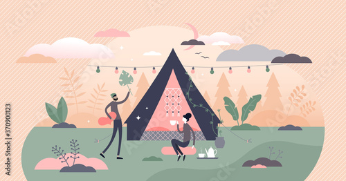 Glamping, camping and outdoor tent romantic activity tiny persons concept Billede på lærred