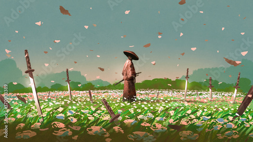 samurai standing among the swords impaled on the ground in the flower fields, di Wallpaper Mural