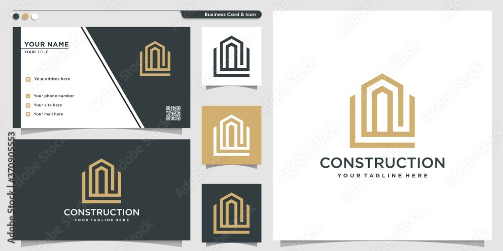 Fototapeta Construction logo with line art style and business card design template Premium Vector