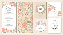 Universal Hand Drawn Floral Menu Suite In Warm Colors Perfect For An Autumn Or Summer Wedding And Birthday Invitations, And Baby Shower.