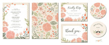 Universal Hand Drawn Floral Templates In Warm Colors Perfect For An Autumn Or Summer Wedding And Birthday Invitations, Menu And Baby Shower.