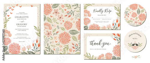 Canvas Print Universal hand drawn floral templates in warm colors perfect for an autumn or summer wedding and birthday invitations, menu and baby shower