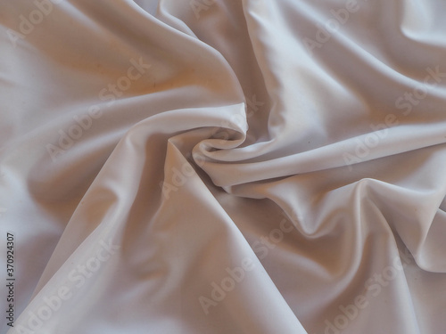 Fototapeta abstract white and cream waves from cloth, texture used for background