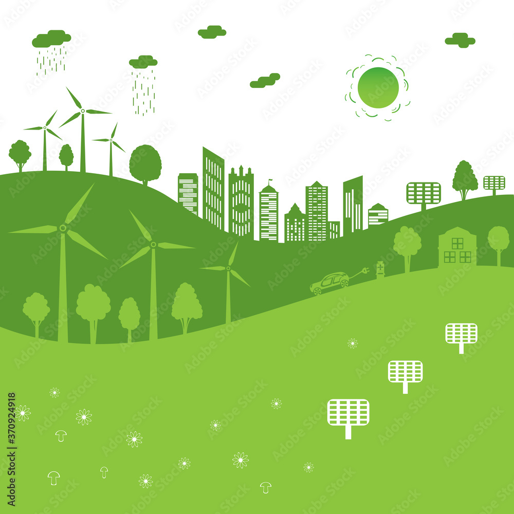Fototapeta Green city concept. The combination of architecture with nature. Ecological city and environment conservation.