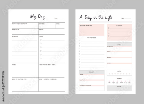 Fototapeta Daily planner printable template Vector. Business organizer schedule page for a day for effective planning. Paper sheet. Simple Clear Vector illustration design.	  obraz