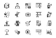 Blogger Flat Glyph Icons. Vect...