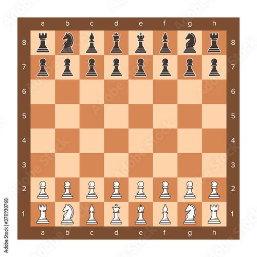 Chess board with piece setup flat clip art Tapéta, Fotótapéta