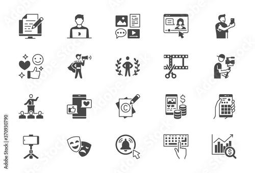 Leinwand Poster Blogger flat glyph icons