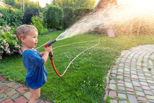 Cute Adorable Caucasian Blond Toddler Boy Enjoy Having Fun Watering Garden Flower And Lawn With Hosepipe Sprinkler At Home Backyard At Sunny Day. Child Little Helper Learn Gardening At Summer Outdoor