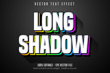Long Shadow Text, Multicolor Style Editable Text Effect