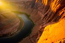 Sunrise Shot Of Horseshoe Bend, Page, Arizona. Arizona Horseshoe Bend Of Colorado River In Grand Canyon.