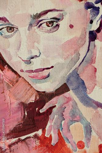 Fototapety, obrazy:  Pastel painting, female portrait, handmade