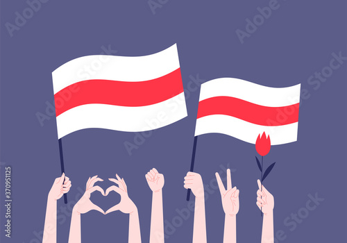 Stampa su Tela Flat illustration of hands holding up, hands holding Belarus opposition white-red-white flag, hand holding a red flower, hands doing heart and victory gesture