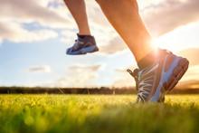Running Trail Run In Early Sun...