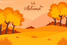 Autumn Landscape Background. Hello Autumn Lettering Logo, Vector Illustration.