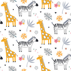 Panel Szklany Zwierzęta Cute vector seamless pattern with safari animals, zebra, giraffe and tropical plants.