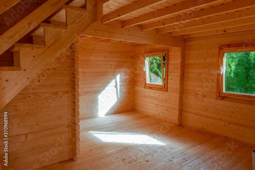 Fototapeta domek letniskowy drewniany wnętrze wykończenie obraz