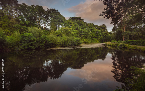 The second lake at Craig y Nos Country park in the Swansea Valley, South Wales UK Canvas Print