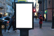 Blank Banner light box Mockup Media Advertising. In the city on the street with people