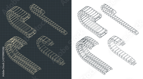 Vászonkép Cable chains isometric drawings