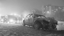 Winter Car Accident, Burned Ca...