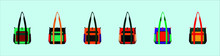 Set Of Duffle Bag With Various Models Vector Illustration Isolated On Blue Background