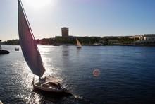 Cruising Along The Nile River On Felucca Boats. Nile Egypt