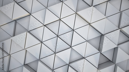 Abstract White Triangle Wall Paper, Simple Design, White Box Triangles, 3D Render