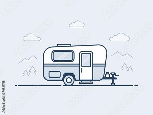 Photo Caravan trailer vector illustrationin monoline / line art style