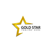 Gold Star Logo Template Design Vector