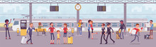 Trainstation Railway Line With Trains And Passengers. Platform Of Rail Facility Area And Services, People Arriving, Waiting For Boarding, Tourists In Journey. Vector Flat Style Cartoon Illustration