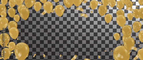 Fotografía Gold color Celebration party banner with Gold balloons confetti background